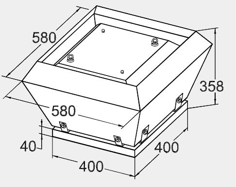 Размеры крышного вентилятора KW 40/32-4D