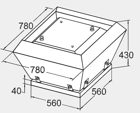 Размеры крышного вентилятора KW 56/35-4E