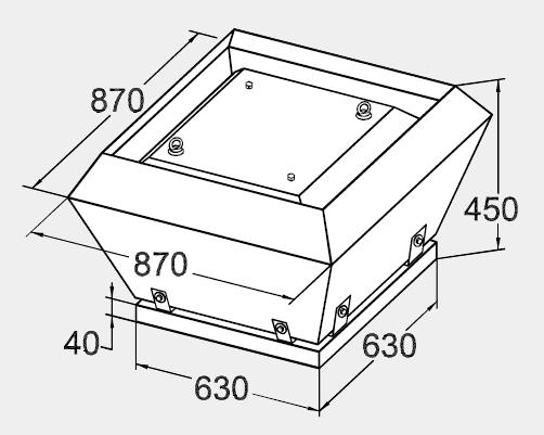 Размеры крышного вентилятора KW 63/45-4D