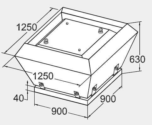 Размеры крышного вентилятора KW 90/63-6D