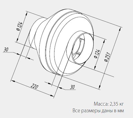 Размеры вентиляторов WNK 125/1