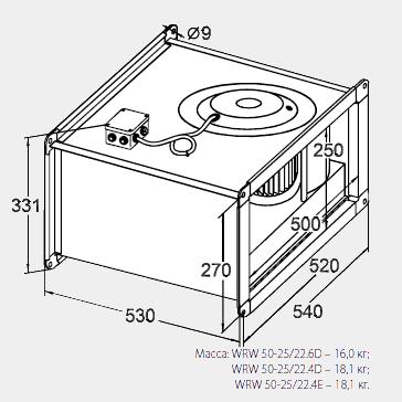 Размеры канального вентилятора WRW 50-25/22-4D