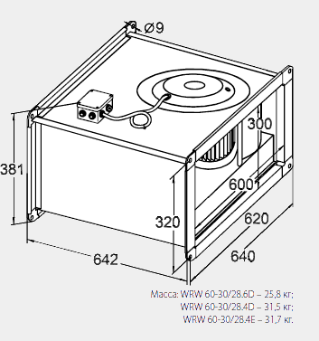 Размеры канального вентилятора WRW 60-30/28-4E
