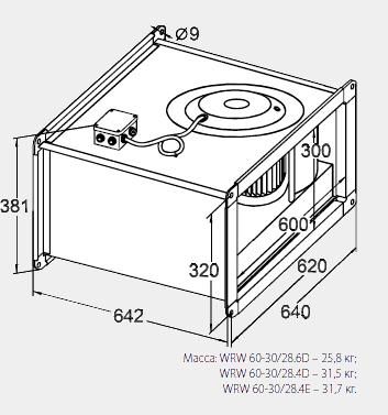 Размеры канального вентилятора WRW 60-30/28-4D