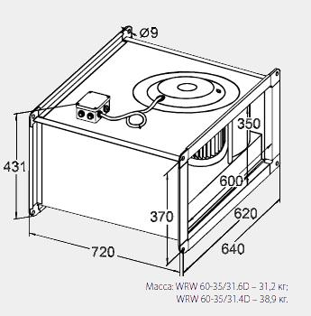 Размеры канального вентилятора WRW 60-35/31-4D