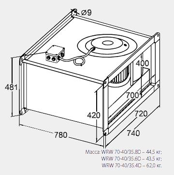 Размеры канального вентилятора WRW 70-40/35-8D