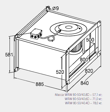 Размеры канального вентилятора WRW 80-50/40-8D