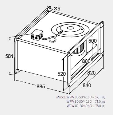 Размеры канального вентилятора WRW 80-50/40-4D