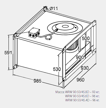 Размеры канального вентилятора WRW 90-50/45-4D